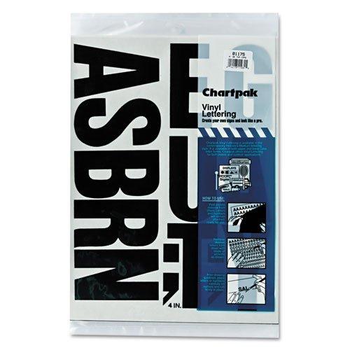 Vinyl Uppercase Letters - Chartpak Press-On Vinyl Uppercase Letters, Self Adhesive, Black, 4