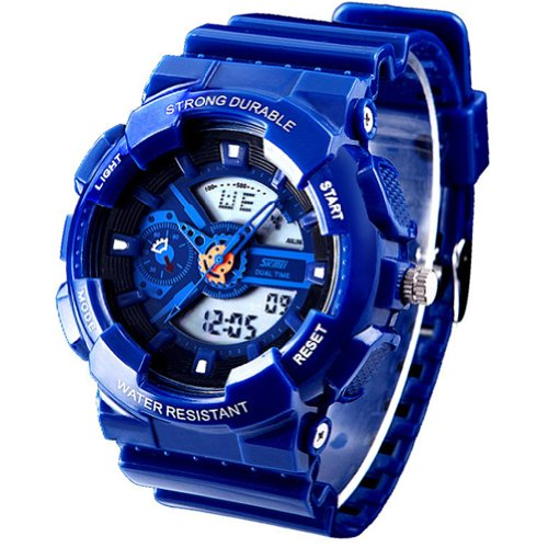 New Unisex Fashion Sport Watch Analog/Digital Water Resist Dual Time Multifunction Alarm Led Womens Mens Wristwatch 6 Colours Option (Blue) - White G Shock Watches For Women