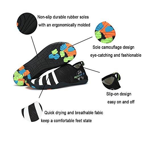 ASUGE Herren Damen Wasserschuhe Multifunktionale Quick-Dry Aqua Schuhe Leichte Schwimmschuhe Hausschuhe Schwarz