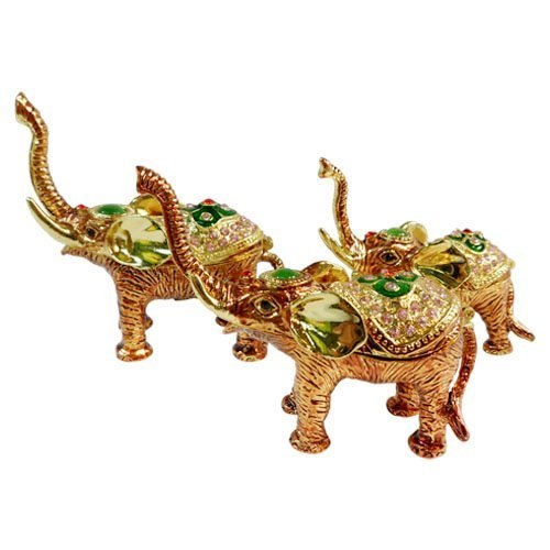 - Elephant Family (Set of 3!) Bejeweled Collectible Trinket Jewelry Box
