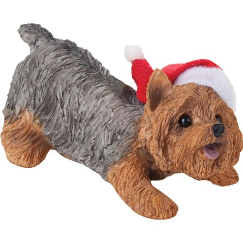 Sandicast Yorkshire Terrier with Santa Hat Christmas Ornament