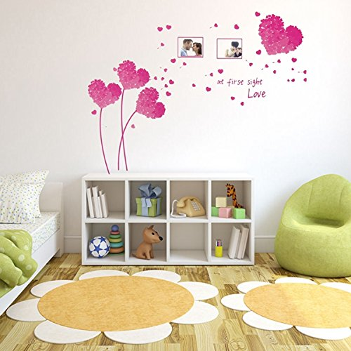 dipshop-pink-colors-heart-love-wall-sticker-photo-frame-leaves-tree-removable-decal-home-art