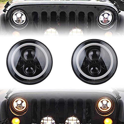 Jeep Wrangler 7 inch Round CREE LED Headlights with Halo Ring CJ TJ LJ JK