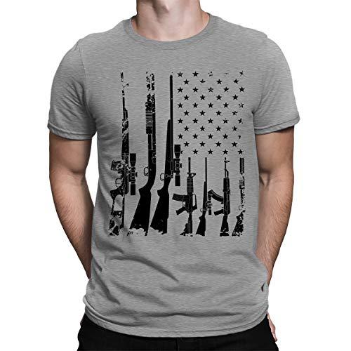 (SpiritForged Apparel Distressed USA Gun Flag Men's T-Shirt, Light Gray 3XL )