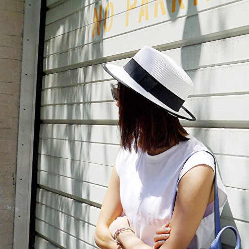 MAISON DE COCO Adjustable sized Boater Hat with Edge Binding Panama Straw Hat -NATURAL