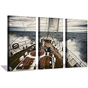 Hardy Gallery Ocean Artwork Nautical Art Picture: Sailboat Sailing Print on Canvas for Wall