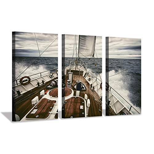 - Hardy Gallery Ocean Artwork Nautical Art Picture: Sailboat Sailing Print on Canvas for Wall