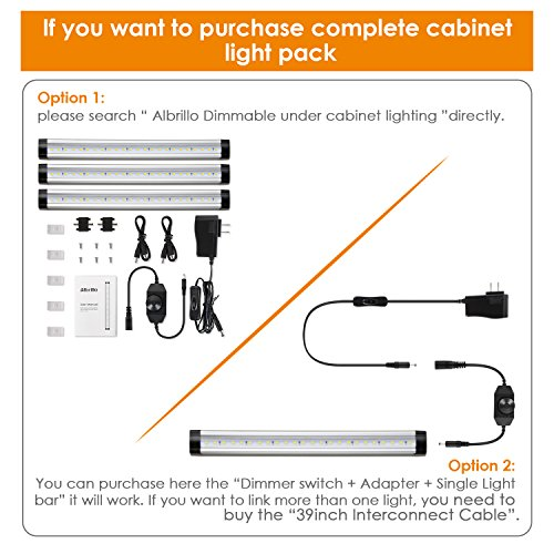Albrillo Dimmer Switch and Power Adapter 12V 3A, for Under Cabinet Lighting Accessories, Link up to 12 Pcs Light Bar by Albrillo (Image #4)'