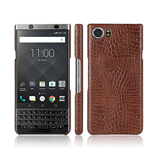 Zshion Case for BlackBerry Keyone ,Croco Premium PU Leather Protective Cases Simple Deurable and Lightweight Case for BlackBerry Keyone (Brown)