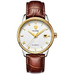 TEVISE Men's Fashion Dress Automatic Watch Thin White Dial Golden Edge Red Brown Genuine Leather Band