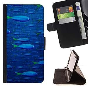 - Sea Fish Pattern/ Personalizada del estilo del dise???¡¯???¡Ào de la PU Caso de encargo del cuero del tir???¡¯????n del s - Cao - For Sony Xperia m55w Z