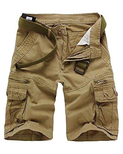 Hombre Casual Pantalones Cortos Con Cremallera Jogging Pantalón Cargo Beige