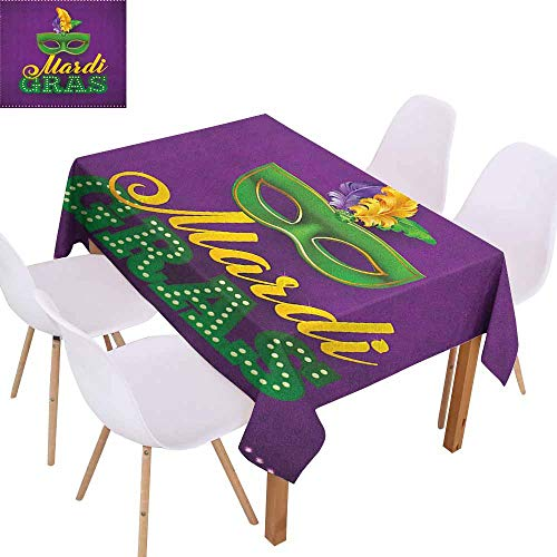 (Fabric Dust-Proof Table Cover Mardi Gras Green Mask with Colorful Feathers on Purple Backdrop Styled Calligraphy Easy to Clean W54 xL84 Purple Green)