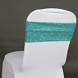 TRLYC 10 Spandex Chair Sequined Sashes 6 by 14Inch-Turquoise