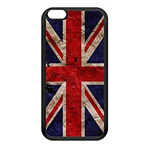 Grunge Paper Flag of United Kingdom - UK Flag - Union Jack - Great Britain Flag Black Silicon Rubber Case for iPhone 6 Plus by UltraFlags + FREE Crystal Clear Screen Protector