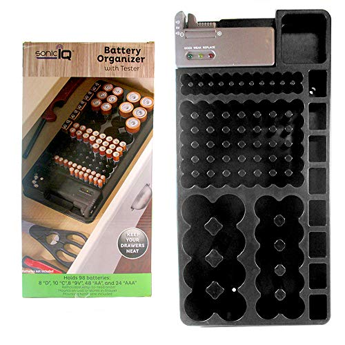 SONIC IQ 1 X 98 Battery Storage Organizer Removable Tester Storage Rack Holder AA AAA 9V ()