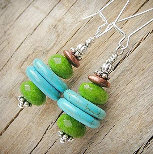 - Sterling Silver Earrings w/Turquoise and Green Jasper Handmade