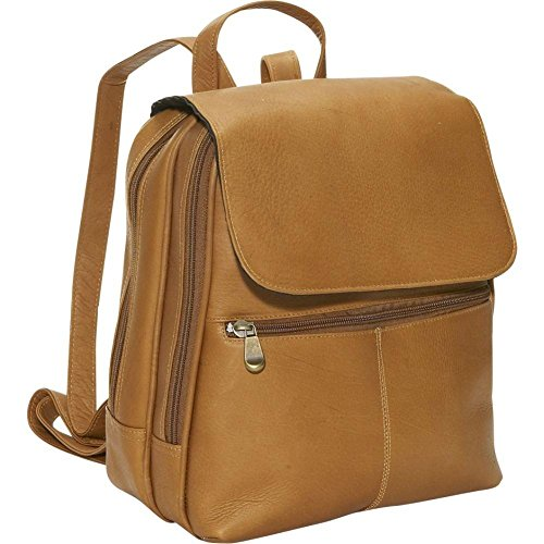 David King Leather Women's Organizer Leather Backpack in Tan (Small David King Flap)