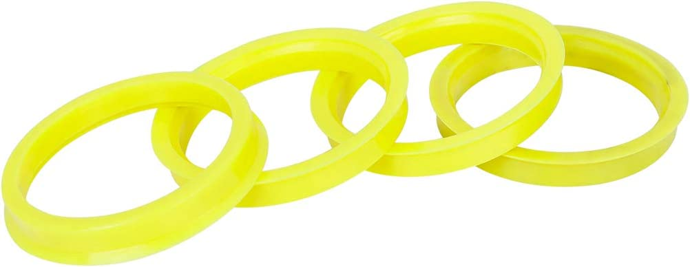 X AUTOHAUX 4pcs Plastic 66.6mm to 57.1mm Car Hub Centric Rings Wheel Bore Center Spacer Yellow