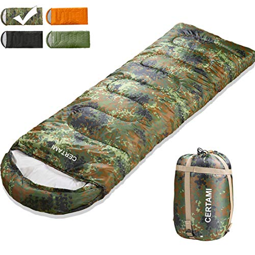 CER TAMI Sleeping Bag for Adults, Girls & Boys, Lightweight Waterproof Compact, Great for 4 Season Warm & Cold Weather, Perfect for Outdoor Backpacking, Camping, Hiking. (Camouflage/Right Zip)