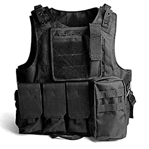 YYAN Tactical Vest Adjustable Breathable Molle Military Training Hunting (Black)