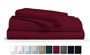 """Kemberly Home Collection 800 Thread Count 100% Pure Egyptian Cotton – Sateen Weave Premium Bed Sheets, 4- Piece Burgundy Queen- Size Luxury Sheet Set, Fits mattresses Upto 18"""" deep Pocket"""