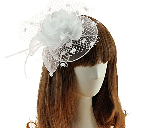 [Coolwife Womens Fascinator Veil Flower Cocktail Tea Party Headwear (White)] (White Top Hat Fascinator)