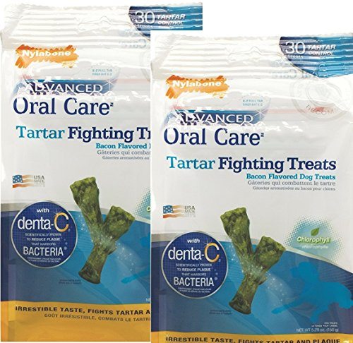 Nylabone Advanded Oral Care Tartar Fighting Dog Treats - Bacon Flavor Mini (30 Pack). Pack of 2 by Nylabone
