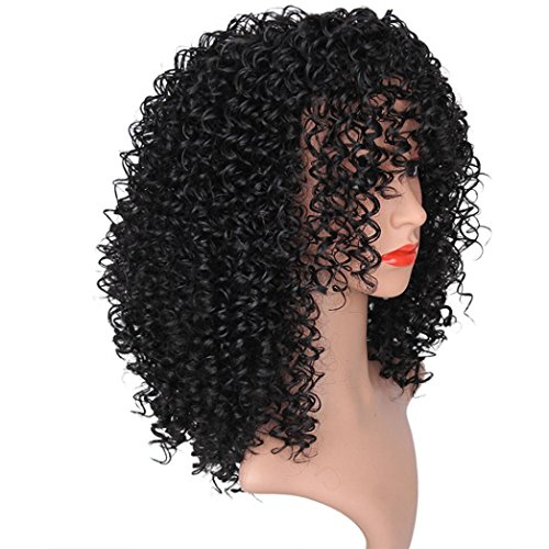 AMA(TM) Synthetic Afro Curly Hair Wigs for Black Woman Short Kinky Hair Jet Black Heat Resistance Fiber Human Hair (Black) by AMA(TM) (Image #3)