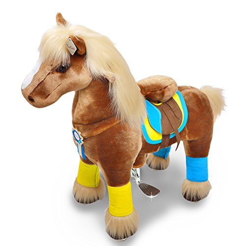 PonyCycle Official Walking Horse No Battery No Electricity Mechanical Brown Color Giddy up Pony Plush Toy Ride on Animal for Age 4-9 Years Medium Size - K42