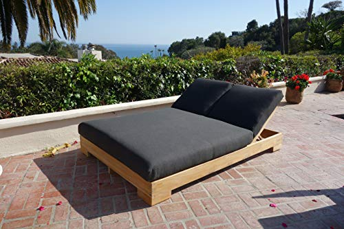 (Teak Hollywood Double Chaise Lounger with Sunbrella-Spectrum Carbon Cushions)