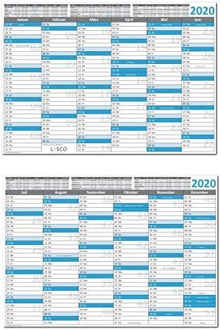 Tafelkalender DIN A5 2020 (5 Stück) Format (148 x 210 mm) 300g BD Papier, sehr gut beschreibbar + Ferientermine aller Bundesländer