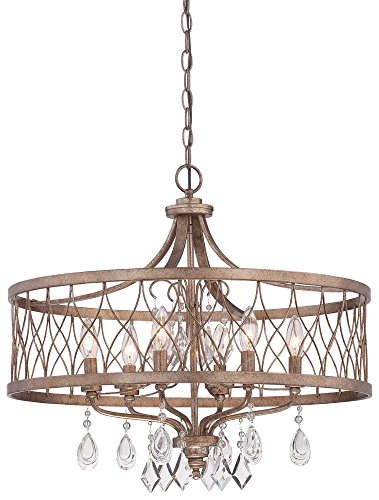 Minka Lavery Chandelier Pendant Lighting 4406-581, West Liberty 1 Tier Dining Room, 6 Light, Olympus Gold For Sale