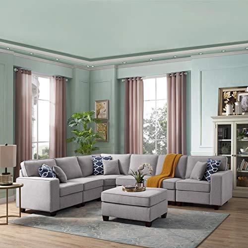 LILOLA Casanova 7 Piece Modular Sectional Sofa with Ottoman in Light Gray Linen (With Gray Sectional Sofa Ottoman)