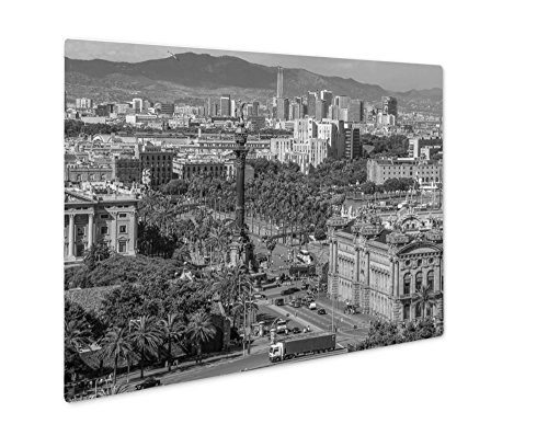 Ashley Giclee Aerial View Over Square Portal De La Pau And Columbus Monument In Barcelona, Wall Art Photo Print On Metal Panel, Black & White, 24x30, Floating Frame, AG6375277