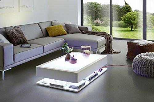 Moree Ora Home Couchtisch LED Beleuchtet Mit Stauraum Holzkorpus Weiss Seidenmatt Lackiert L 110 Cm W 70 H 29 Glasplatte Inkl