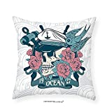 VROSELV Custom Cotton Linen Pillowcase Nautical Marine Skull Covered Roses Captain Hat Dead Bird Gothic Mexican Sugar Print for Bedroom Living Room Dorm Petrol Blue Coral 12''x12''