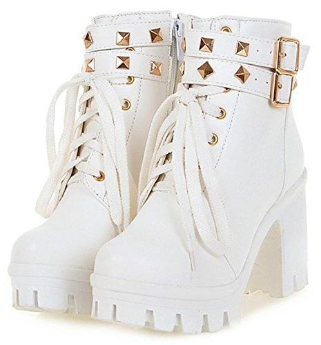 Easemax Women's Warm Studded Zip Up Round Toe Platform Short Ankle High Boots With Heel White sSasYI0Bi