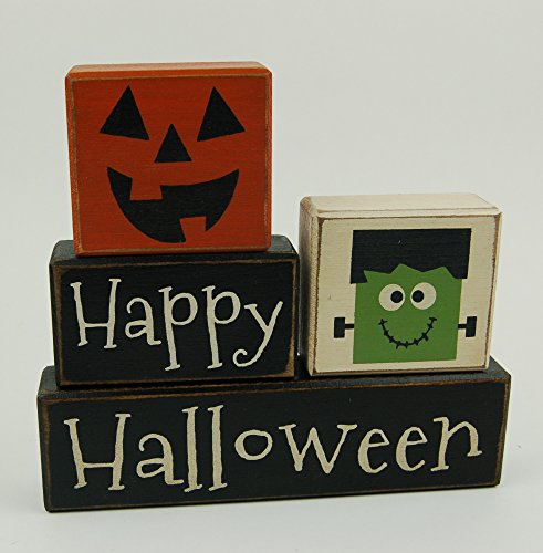 NEW! Happy Halloween Frankenstein and Jack-O-Lantern -Primitive Wood Sign Shelf Sitting Blocks - Holiday, Seasonal, Halloween, Fall, Home Decor