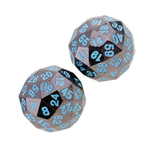 Jiliオンライン2ピース不透明亜鉛合金60-sided Dices d60ブルー番号forパーティーカードテーブルゲームアクセサリー0.47インチの商品画像