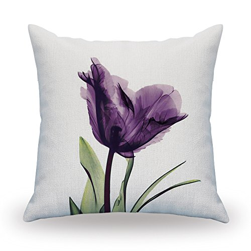 NATURALSHOW Print Elegant Tulip Purple Flower LinenThrow Pillow Cover Sofa Couch Art Painting For Living Room Decor Cushion Cover And Modern Home Decorations - Art Pillowcase