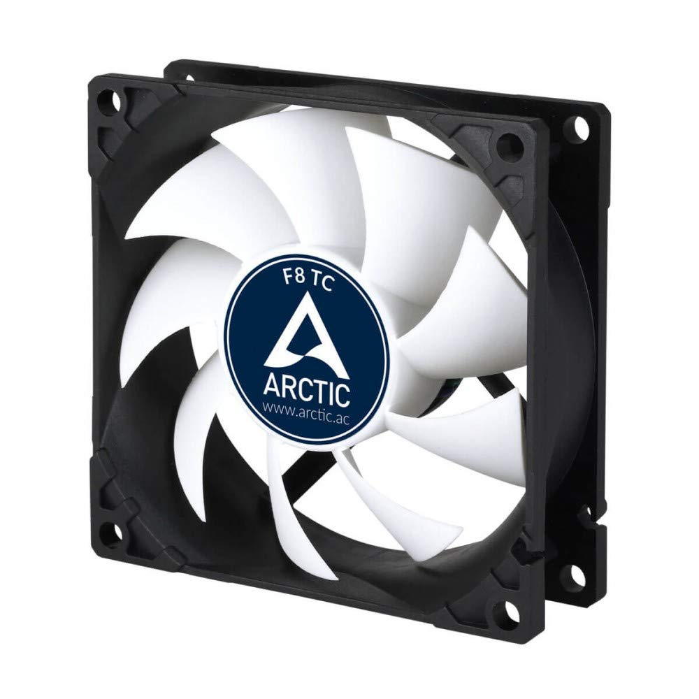 ARCTIC F8 TC - Temperature-Controlled 80 mm Case Fan | Standard Case Cooler | Intelligent Heat Detector regulates RPM | Push- or Pull Configuration