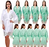 Set Of 10 Women's Cotton Kimono Robes Wedding Party Gifts For Bride and Bridesmaid With Lace Trim V-Neck Nightgown