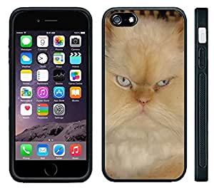 Apple iPhone 6 Black Rubber Silicone Case - Grumpy Cat Internet Kitty Mean Face Grump Cute