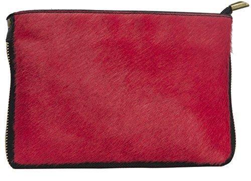 Big Handbag Shop - Cartera de mano con asa de piel para mujer One Rojo