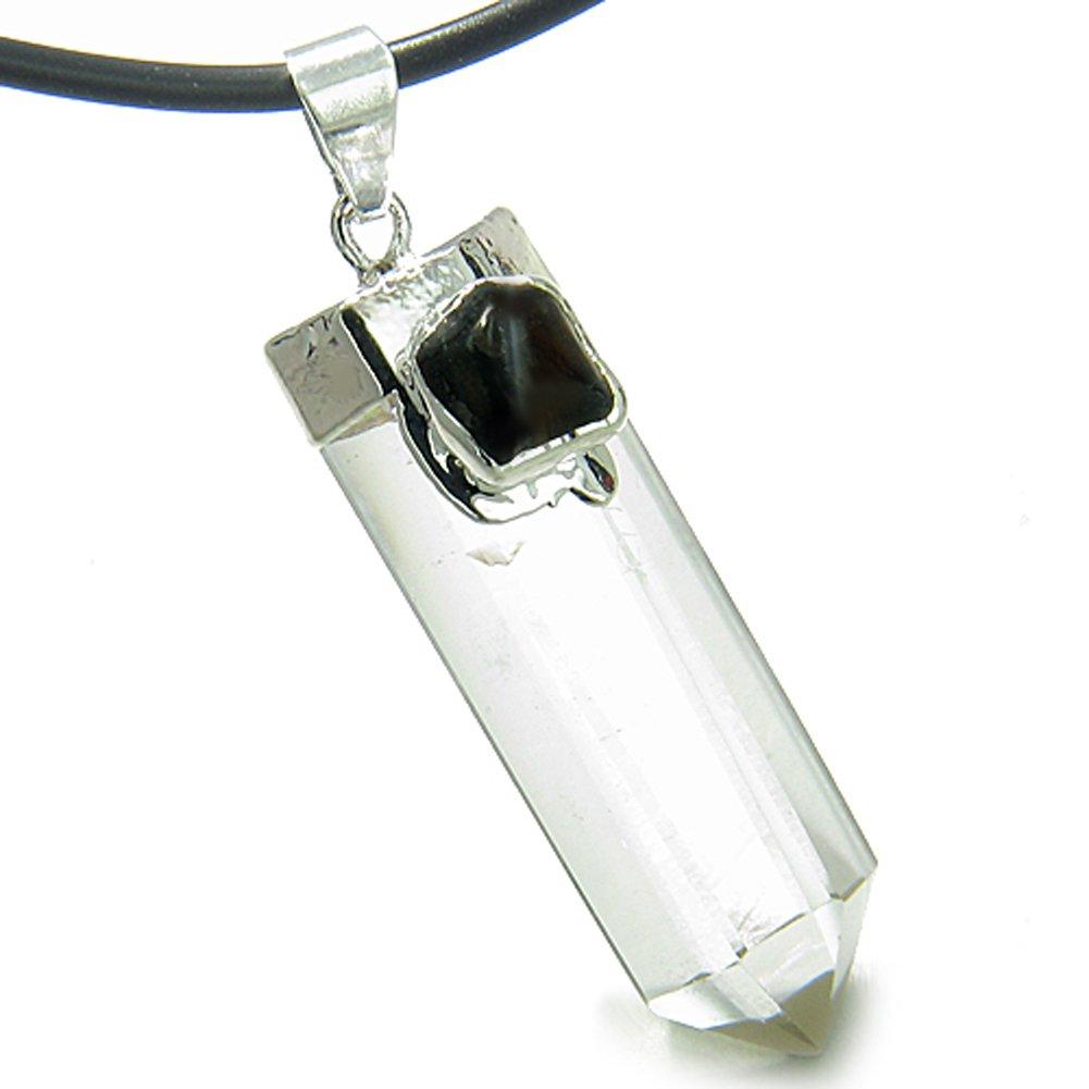 BestAmulets Amulet Crystal Point Rock Quartz and Black Onyx Leather Pendant Necklace