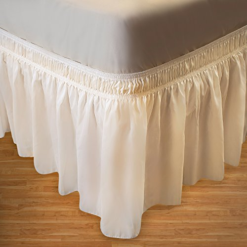 Wrap Around Bed Skirt Elastic Dust Ruffle Easy Fit Wrinkle and Fade Resistant Solid Color Hotel Quality Fabric (Twin/Full, Ivory) (Bed Size Storage Lift Full)