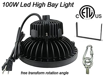 100W UFO LED High Bay Light ETL Certified,Daylight White,Replacement for 300W-400W HID/HPS, Waterproof,with Mount Bracket Hanging Ring,for Warehouse workshop Gymnasium Commercial Shopping Mall lights