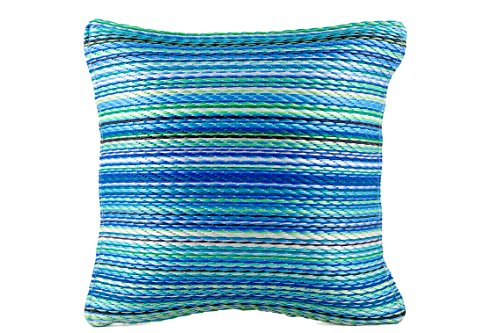 Fab Habitat Outdoor Accent Pillow, UV & Weather resistant, Recycled Plastic - Cancun - Turquoise & Moss Green (20