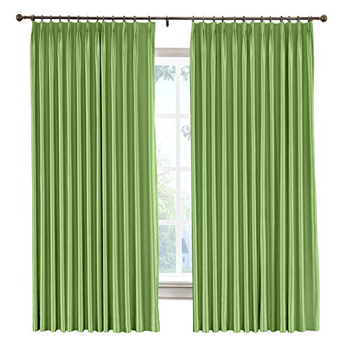 cololeaf Vintage Textured Faux Dupioni Silk Curtain Pinch Pleat for Traverse Rod Or Track, Living Room Bedroom Meetingroom Club Theater Patio Door,Green 100W x 108L Inch (1 panel)